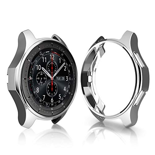 UKCOCO Funda Gear S3 Frontier/Classic, galvanoplastia Colorida Protector de TPU Suave Reemplazo Protector Caso Marco de la Cubierta para Samsung Gear S3 Frontier/Classic Smartwatch (Plata)