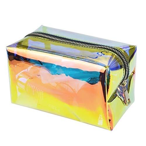 PoplarSun Süßigkeit-Farben-Laser Transparenter Aufbewahrungs kosmetische Beutel-Verfassungs-Beutel Art und Weise beweglich Splash Proof Cosmetic Bag Kulturbeutel for Reisen (Color : Beige)
