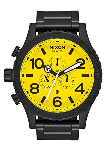 NIXON 51-30 Chrono A083 - All Black/Yellow - 300m Water Resistant Men's Analog Fashion Watch (51mm Watch Face, 25mm Stainless Steel Band)