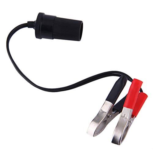 Adaptador de tomada de força de isqueiro de cigarro com clipe para terminal de bateria de carro 12V (preto e vermelho)