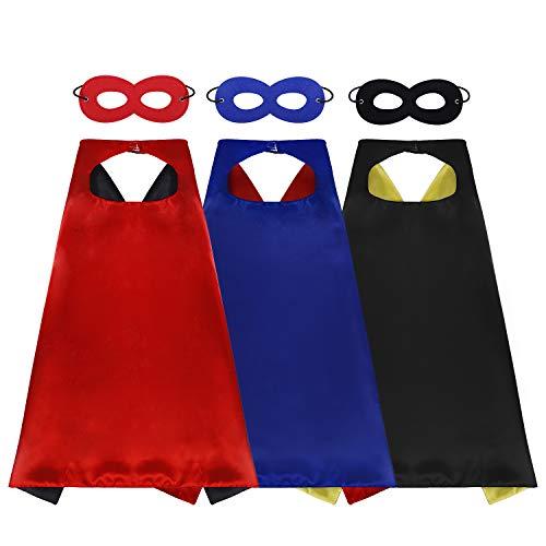 Capa y Máscaras de Superhéroe 3 Piezas Capas 3 Piezas Máscaras de Cosplay de Niños y Niñas para Halloween Carnaval Fiesta de Baile Cumpleaños