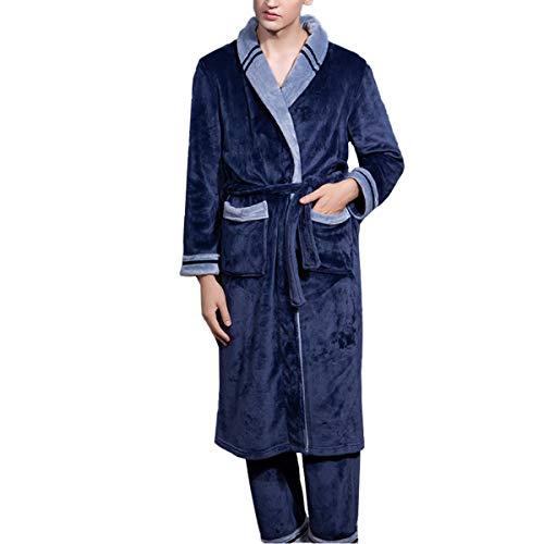 Albornoz para Hombre Pantalones Conjunto De Pantalones Camisón De Franela De Manga Larga Camisón De Doble Capa Más Grueso Ropa De Hogar Otoño E Invierno,Azul,L