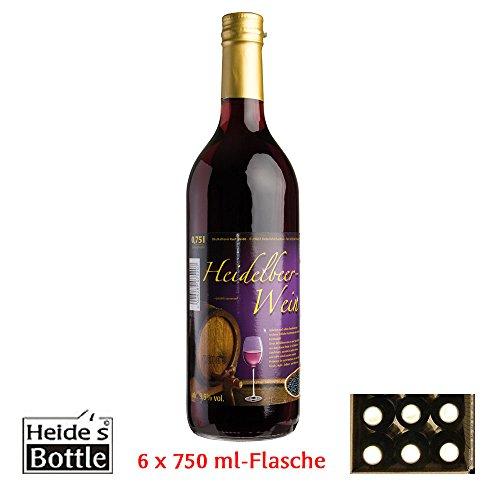 Heidelbeer-Wein - 9,5% Alc, 6 x 750ml-Flasche - pfandfrei -