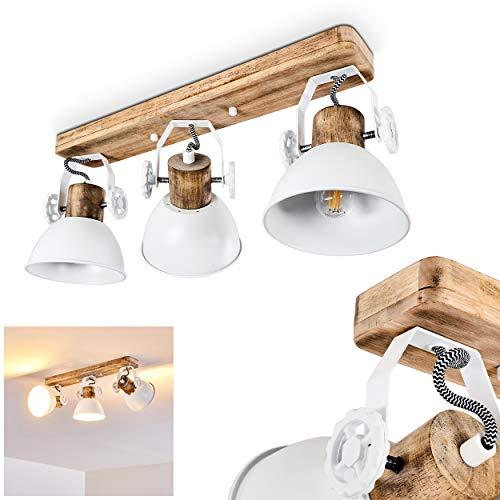 Deckenleuchte Orny, Deckenlampe aus Metall/Holz in Weiß/Braun, 3-flammig, mit verstellbaren Strahlern, 3 x E27-Fassung max. 60 Watt, Spot im Retro/Vintage Design, für LED Leuchtmittel geeignet