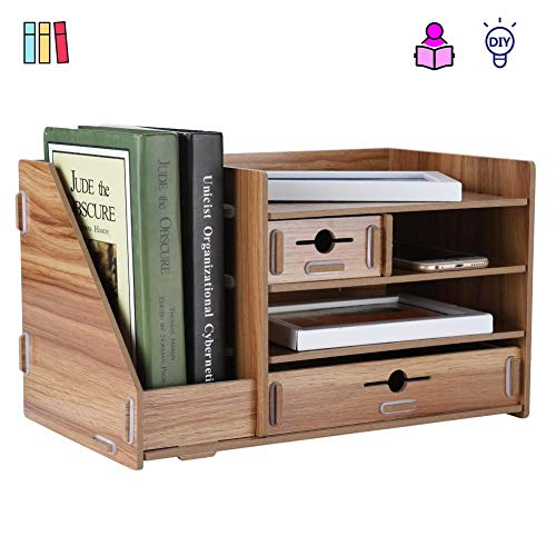 VBESTLIFE DIY Büro Aufbewahrungsbox, Multifunktional Verdickte Holz Dateien Rack Regal Schublade Desktop Organizer,geeignet für Büros,Schreibtisch,Schlafzimmer,Studienzimmer usw. 35 * 20 * 20cm