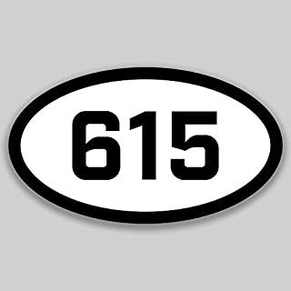 DHDM 615 Area Code Sticker Tennessee Nashville Franklin Brentwood City Pride Love | 5-Inches by 3-Inches | Premium Quality Vinyl UV Resistant Laminate PD2305