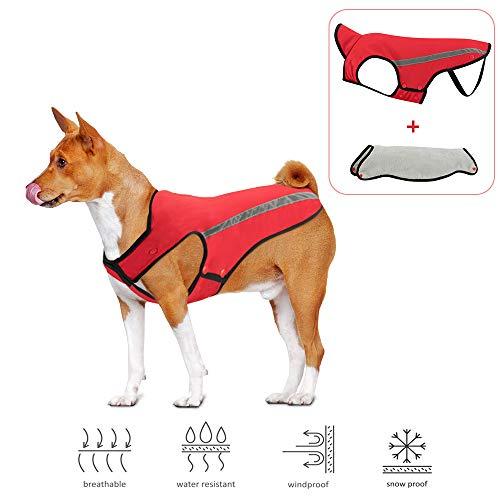 SlowTon Dog Jacket, Winter Dog Coat Waterproof Windproof Warm Adjustable Pet Vest Reflective...