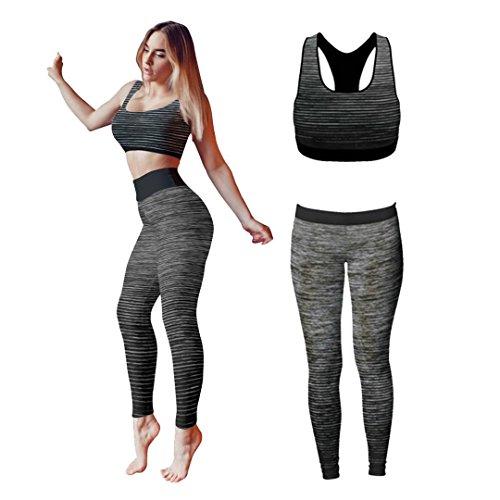 Bonjour® - Set di canotta e leggings, da donna, elasticizzati, abbigliamento sportivo, set per yoga e palestra, Black Crop Top, One Size ( UK 8 - 14 )