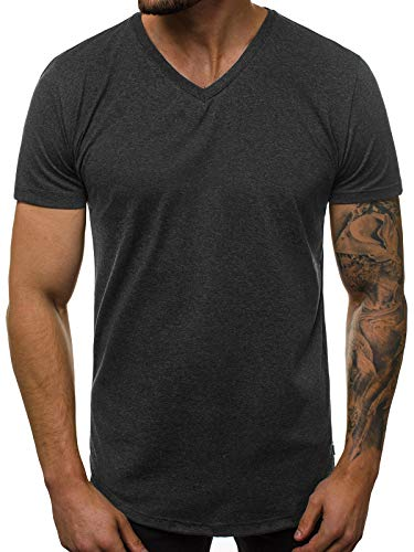 OZONEE Herren T-Shirt T Shirt Tshirt Kurzarm Kurzarmshirt Tee Top Sport Sportswear Rundhals U-Neck Rundhalsausschnitt Unifarbe Basic Einfarbig O/1210 DUNKELGRAU M