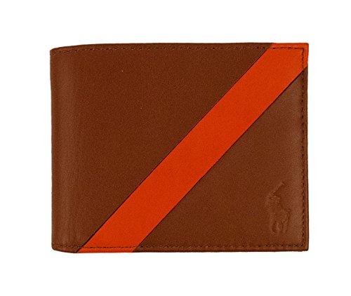 Polo Ralph Lauren Mens Leather Banner Stripe Bifold Wallet Brown O/S