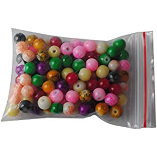 Wadoy - 100 Painted Glass Beads Marble Effect Multi Colour Mix 8mm
