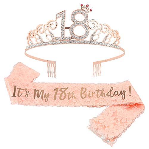 18 Anni di Compleanno Strass Corona 18 Anni di Compleanno Strass Corona Diadema con Satin Sash per Feste di Compleanno