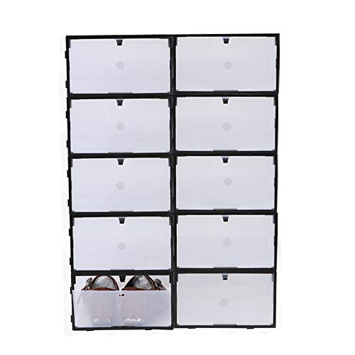 Sinbide 10 x Cajas de Zapatos Transparente Plástico, Caja Guardar Zapatos, Calcetines, Juguetes, Cinturones para la Organización de Hogar, Oficina, Plegable, 34 * 22 * 13cm (Negro)