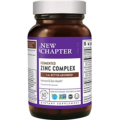 Zinc Supplement – New Chapter Zinc Food Complex for Immune Support + Skin Health + Non-GMO Ingredients – 60 ct Vegetarian Capsules