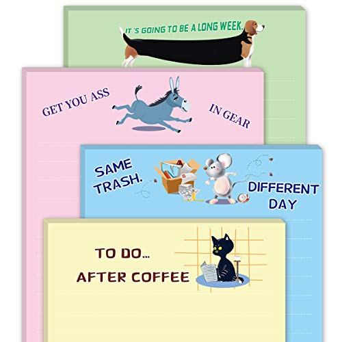 Funny Note Pads Novelty Memo Pads for Office Gift for Coworkers 4 Pack