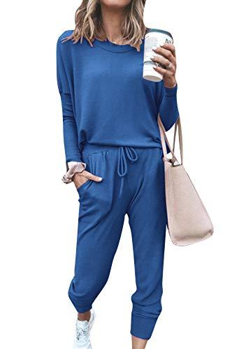 EFOFEI Damen Outfit Stretch Skinny Hose Lose Freizeitanzug Lang Elegant Pyjama Weich Set Blau Medium