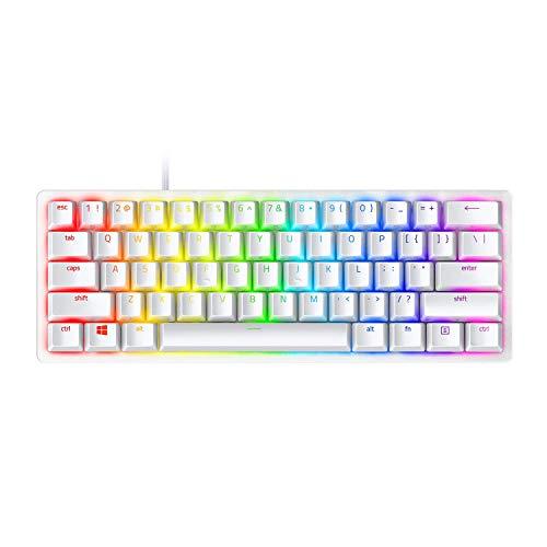 Razer Huntsman Mini 60% Gaming Keyboard: Fastest Keyboard Switches Ever - Linear Optical Switches - Chroma RGB Lighting - PBT Keycaps - Onboard Memory - Mercury White (Renewed)