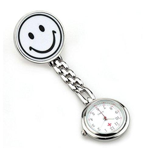 Cuarzo Reloj De Bolsillo De La Enfermera Con El Colgante De Plata De La Cara De Sonrisa Broche De Blanco