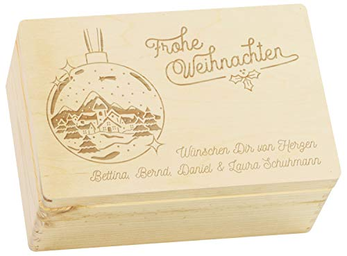 LAUBLUST Große Holzkiste Weihnachts-Kugel Motiv - Personalisiert mit Individueller Wunsch-Gravur - 30x20x14cm, Natur, FSC® | Geschenkkiste - Geschenk-Verpackung | Aufbewahrungskiste | Deko-Kasten