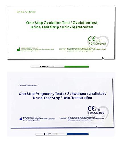 One Step - 50 Tests de Ovulación 20 mIU/ml y 15 Pruebas de Embarazo 10mIU/ml - Nuevo Formato Económico de 2,5 mm