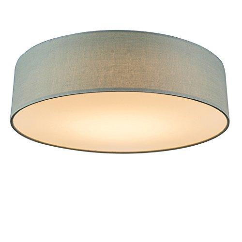 QAZQA Modern Deckenleuchte/Deckenlampe/Lampe/Leuchte grün 40 cm inkl. LED - Drum mit Schirm/Innenbeleuchtung/Wohnzimmerlampe/Schlafzimmer/Küche Textil/Stahl Rund LED geeignet Max. 1 x