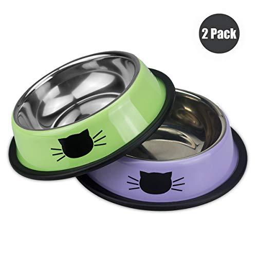 Ureverbasic Stainless Steel Cat Bowls Set of 2