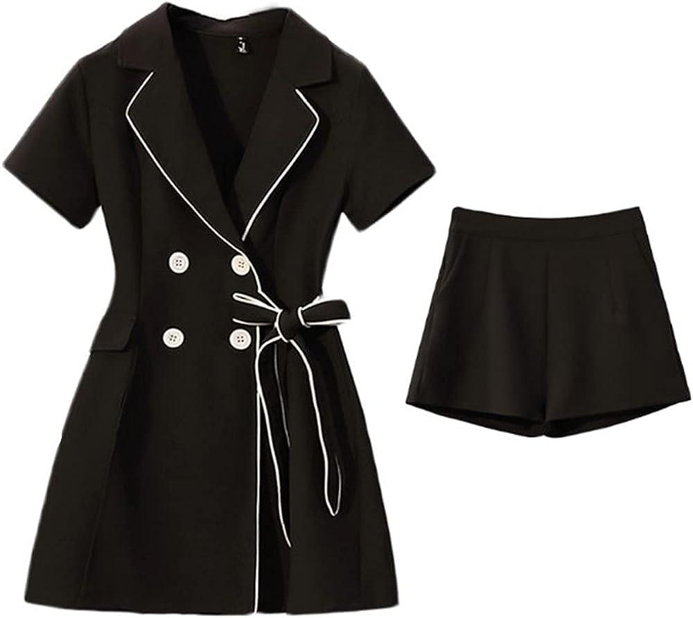 2021 Jacket Suit Women Summer Short Sleeve Slim Blazer Jacket and Short Pants 2 Pieces a Set Tailored Suit Blazor Suits