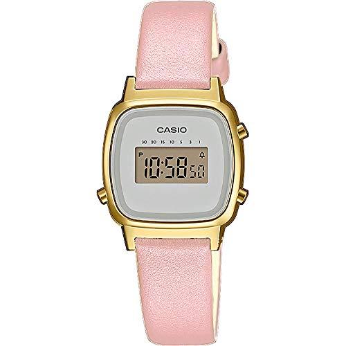 Casio Damen Digital Quarz Uhr mit Echtes Leder Armband LA670WEFL-4A2EF