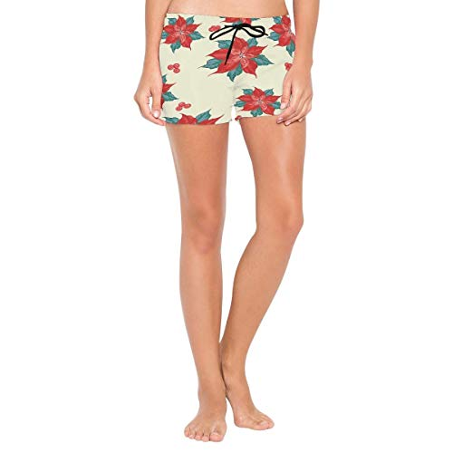 CODOYO Women Swim Shorts Merry Poinsettia Flower Pattern Swim Briefs Quick Dry Board Shorts for Beach or Swimming