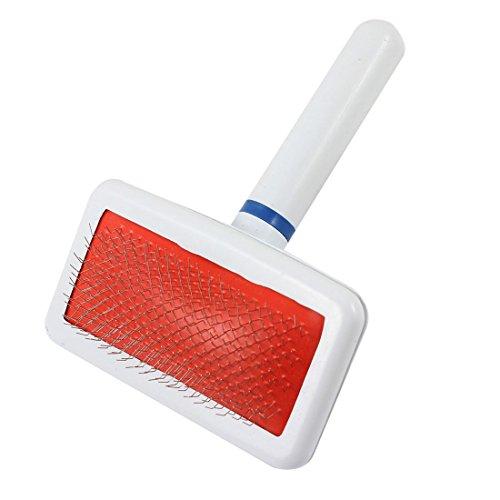 sourcingmap Poignée en Plastique Fil métallique Pet Dog Toilettage Brosse à Cheveux Peigne, Blanc/Rouge