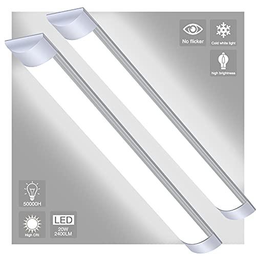 Pack 2x Tubo LED integrado 30W - 90CM Lámpara de Techo, 6000K LED Mueble Luz Fluorescente, Resistente a la humedad. Regleta led slim ,Ultrafino Lamparas Cocina Techo (blanca fria, 30w-90cm)