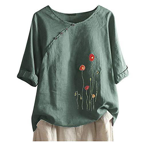 Camiseta de mujer de verano para mujer, de algodón, sin mangas Menta verde XXXXL