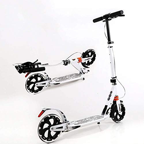 New Adjustable Height Foldable Adult Kick Scooter with Handbrake, Portable City Big Wheels Commuter ...