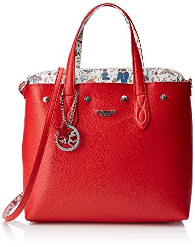 piero guidi Tote Bag + Busta, Borsa Donna, (Rosso), 32x30x14 cm (W x H x L)