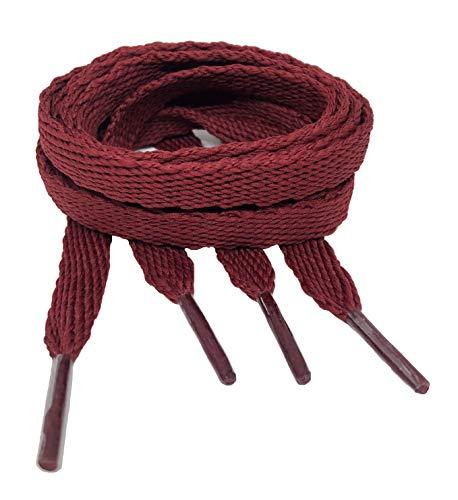 Big Laces Flache Schnürsenkel, mehrere Farben, Breite 10mm, Länge 90cm bis 180cm, Rot - burgunderfarben - Größe: 110 cm