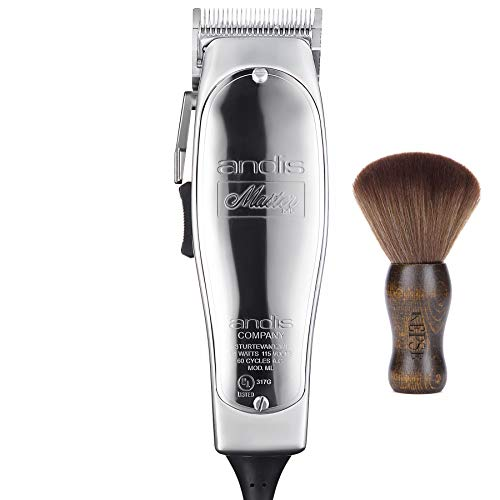 Andis Master Hair Adjustable Blade Clipper, Silver, Bundled with KEPSE Neck Duster