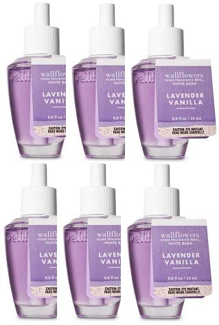 Bath and Body Works 6 Pack Lavender Vanilla Wallflowers Fragrance Refill 0.8 Oz.