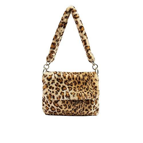 YSMYWM Damen-Schultertasche aus Kunstfell, Leopardenmuster, Handtasche für Mädchen, Mehrere (leopard), Large
