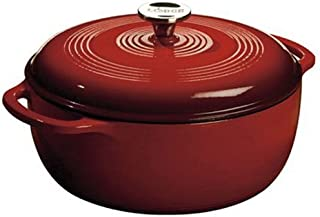 Lodge 6 Quart Enameled Cast Iron Dutch Oven. Classic Red Enamel Dutch Oven with Self Basting Lid . (Island Spice Red) (Renewed)