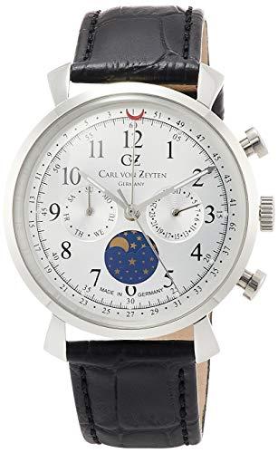 Carl von Zeyten Herren Mondphase Quarz Uhr mit Leder Armband CVZ0015SL