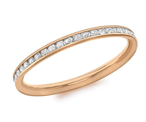 Carissima Gold 9ct Rose Gold Cubic Zirconia Band Ring - Size L