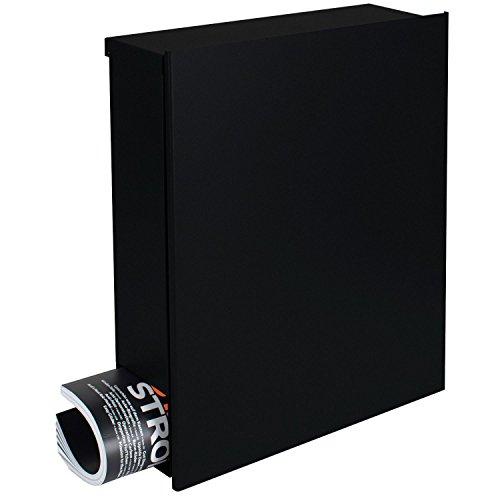 Design-Briefkasten mit Zeitungsfach 12 Liter schwarz (RAL 9005) Mocavi Box 111 Postkasten Zeitungsrolle