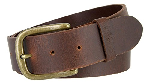 Big and Tall Mens Oil Tanned Solid Leather Belt with Vintage Metal Buckle Black Brown