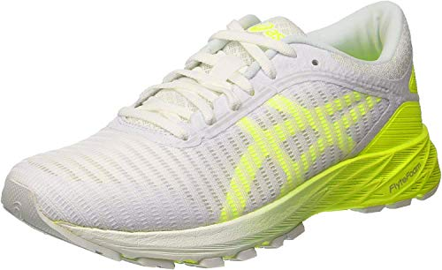 ASICS Women's Dynaflyte 2 Running Shoes, 7.5M, White/Safety Yellow/Aruba Blue