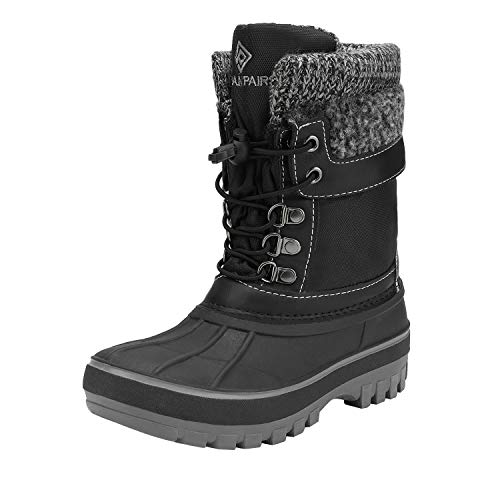 DREAM PAIRS Boys Girls Cold Weather Insulated Waterproof Winter Snow Boots Size 1 M US Little Kid KMONTE-1 Black