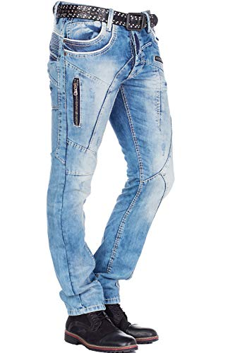 Cipo & Baxx Herren Jeans Mens Pants Freizeit-Hose Clubwear Biker Style Top Denim W30 L32 Blau