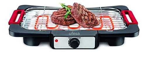 Ufesa BB6020 Rodeo Grill Barbacoa eléctrica, 2000W de potencia, Superficie de cocción 41.5x24.5cm, Micro interruptor de seguridad, Termostato ajustable, Apto para lavavajillas, Baja generación de humo