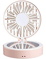 AooYo 攜帯扇風機 手持ち扇風機 USB扇風機 小型 卓上ミニファン 化粧鏡付き ミニ扇風機 3段階風量調節 靜音