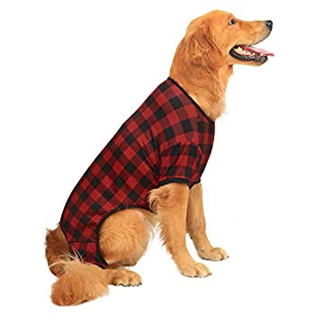 HDE Dog Pajamas Lightweight Dog PJs One Piece Jumpsuit Shirts for Dogs Cute Puppy Clothes for Small Medium Large Dogs  Red Buffalo Plaid XX-Large
