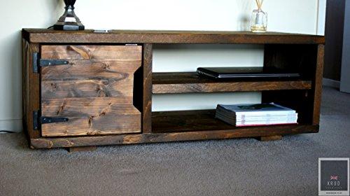 KRUD K23~Dark Teak - Soporte de TV de 120 cm ~ Retro hecho a mano madera maciza ~ estilo andamio ~ 24 colores ~ industrial ~ Chunky~rústico ~ país ~ soporte de TV ~ armario
